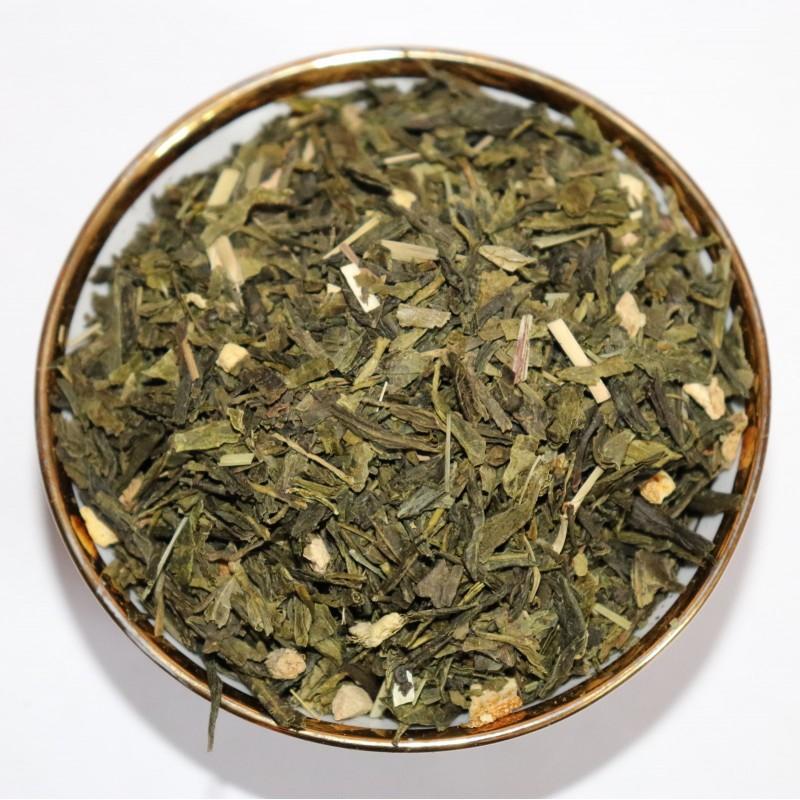 зелёный чай с имбирём и лимоном
