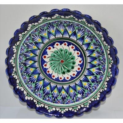Тарелка Накша синяя резная 19 см